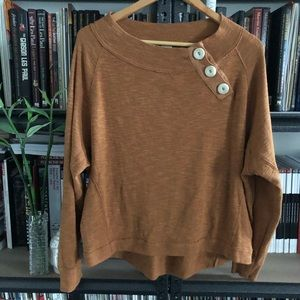 We The Free Pull Over Cream Button Top